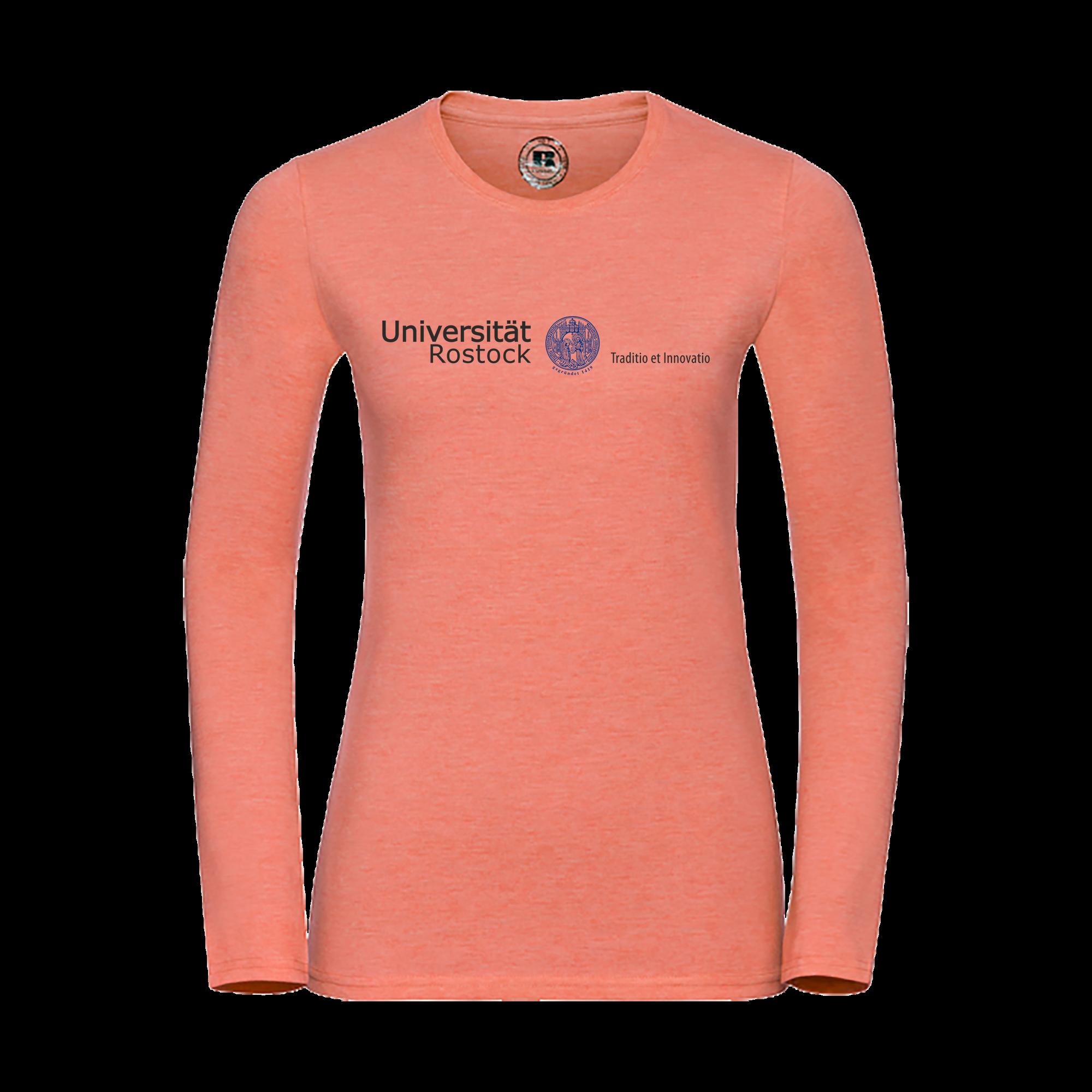 da6de5b03bd6b9 Damen Langarm-Shirt mit original Schriftzug der Universität Rostock und blauem  Siegel