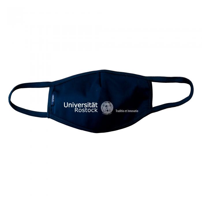 Maske Universität Rostock mit Logo